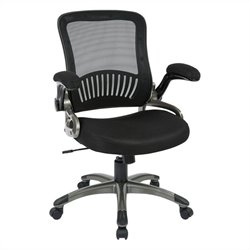 Office Star EM Series Screen Back and Mesh Seat Office Chair in Black