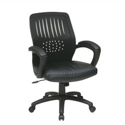 Office Star EM Series Screen Back Contoured Shell Office Chair in Black