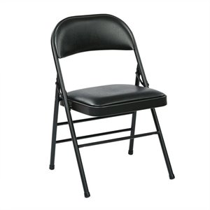 Set of 4 Folding Chair with Vinyl Seat in Black