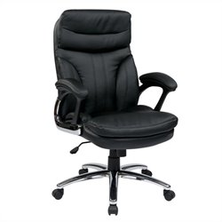 Office Star FL Series High Back Executive Faux Leather Office Chair in Black