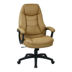 Office Star FL Series Executive Faux Leather Office Chair in Tan