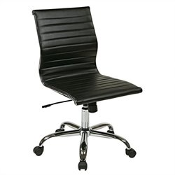 Office Star FL Series Thick Padded Faux Leather Office Chair in Black
