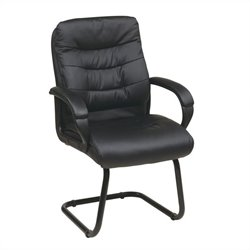 Office Star FL Series Faux Leather Guest Chair in Black