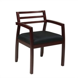 Guest Chair With Wood Back in Mahogany