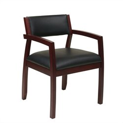 Office Star Napa Guest Chair With Upholstered Back in Mahogany