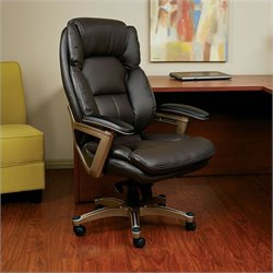 Office Star OPH Series Eco Leather Office Chair in Cocoa and Espresso