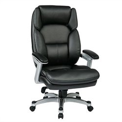 Office Star OPH Series Eco Leather Office Chair in Silver and Black