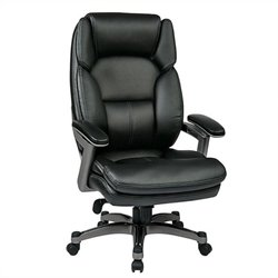 Office Star OPH Series Eco Leather Office Chair in Titanium and Black