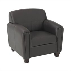 Office Star Pillar Faux Leather Club Chair in Espresso