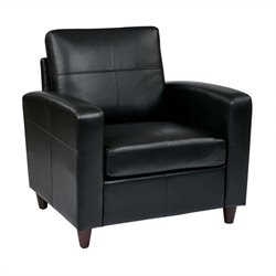 Office Star Eco Leather Club Chair in Black
