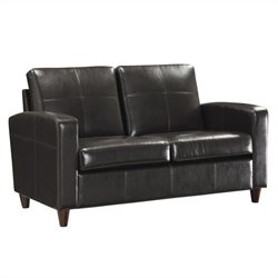 Office Star Eco Leather Loveseat in Espresso