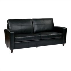 Office Star Eco Leather Sofa in Black