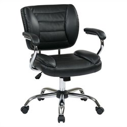Office Star ST Series Task Office Chair Faux Leather in Black