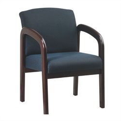 Office Star Wood Visitor Guest Chair in Mahogany and Blue
