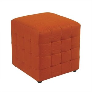 Fabric Ottoman Cube in Orange