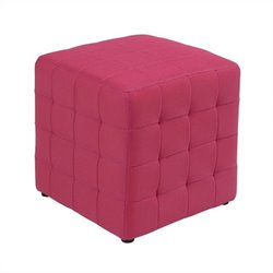Office Star Detour Fabric Ottoman Cube in Pink