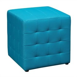 Office Star Detour Fabric Ottoman Cube in Blue