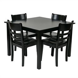 Office Star Everidge 5 Piece Dining Set in Black