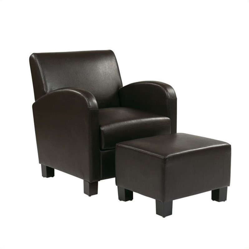 Faux Leather Club Chair with Ottoman in Espresso