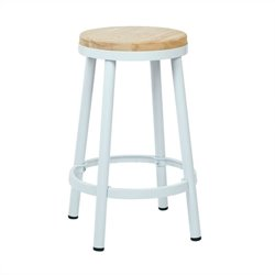 Office Star Bristow Metal Backless Bar Stool in White