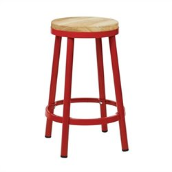 Office Star Bristow Metal Backless Bar Stool in Red - 26