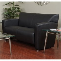 Faux Leather Loveseat in Black and Silver