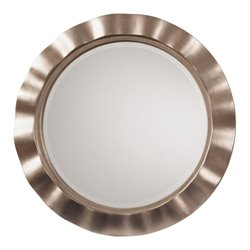 Office Star Cosmos Beveled Wall Mirror in Brushed Silver
