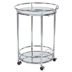 Office Star Royse Round Serving Cart in Chrome