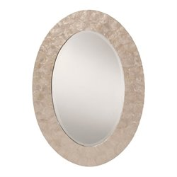Office Star Rio Beveled Wall Mirror in White and Pearl