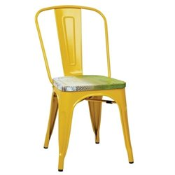 Office Star Work Smart Metal Chair in Yellow (Set of 4)