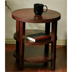 Office Star Work Smart Round End Table in Mahogany