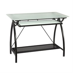OSP Designs Glass Computer Desk in Black