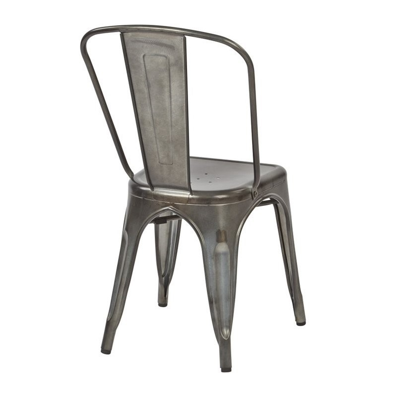 Bristow Armless Chair in Matte Galvanized Chrome Finish 4 Pack