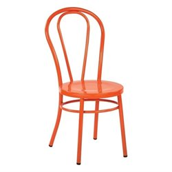 Office Star Odessa Metal Patio Dining Chair in Solid Orange (Set of 2)