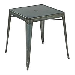 Metal Patio Bistro Table in Matte Galvanized
