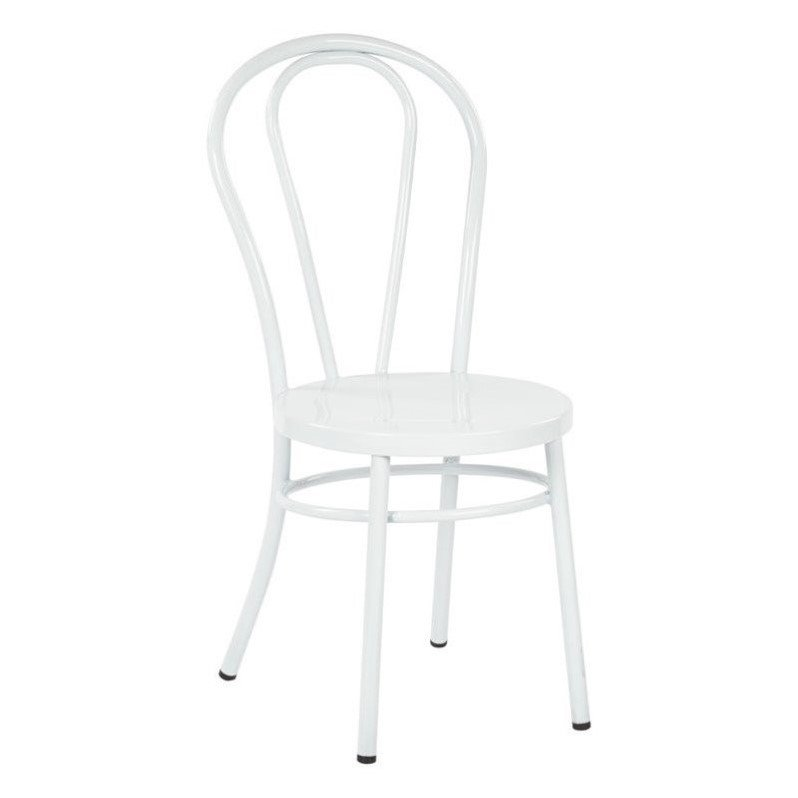 Odessa Metal Dining Chair in Solid White Set of 2