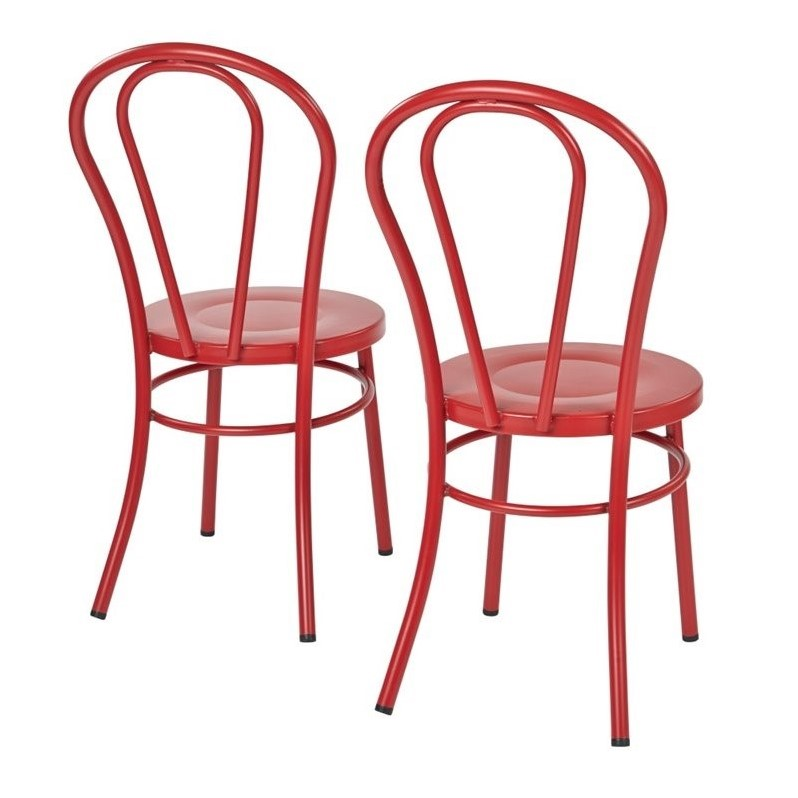 Odessa Metal Dining Chair in Solid Red Set of 2