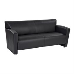 Office Star OSP Furniture Faux Leather Sofa in Black