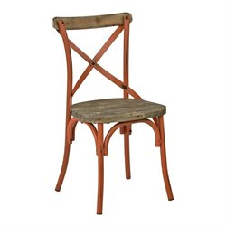 Office Star Somerset Metal Dining Chair with Wood Seat in Orange