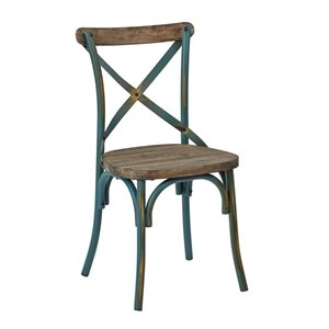Metal Dining Chair with Wood Seat in Turquoise