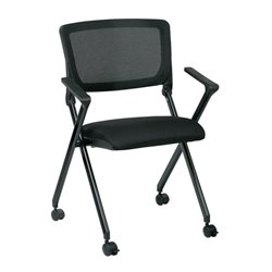 Office Star Work Smart Mesh Back Folding Chair in Black (Set of 2)