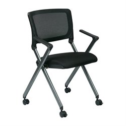 Office Star Work Smart Mesh Back Folding Chair in Titanium (Set of 2)
