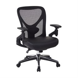 Office Star ProGrid Faux Leather Seat Office Chair in Black
