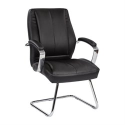 Office Star 6000 Series Deluxe Faux Leather Guest Chair in Black