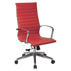 Office Star OSP Furniture High Back Faux Leather Office Chair in Red