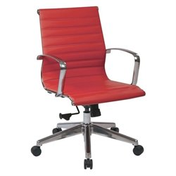 Office Star OSP Furniture Faux Leather Office Chair in Red