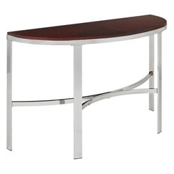 Metal Console Table with Cherry Finish Top