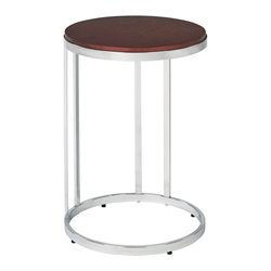 Office Star Alexandria Metal End Table with Cherry Finish Top