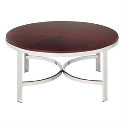 Office Star Alexandria Metal Coffee Table with Cherry Finish Top