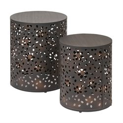 Office Star Middleton 2 Piece Round Accent Tables in Rustic